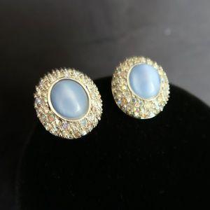 Vintage St. John Blue Stones & Crystal Earrings